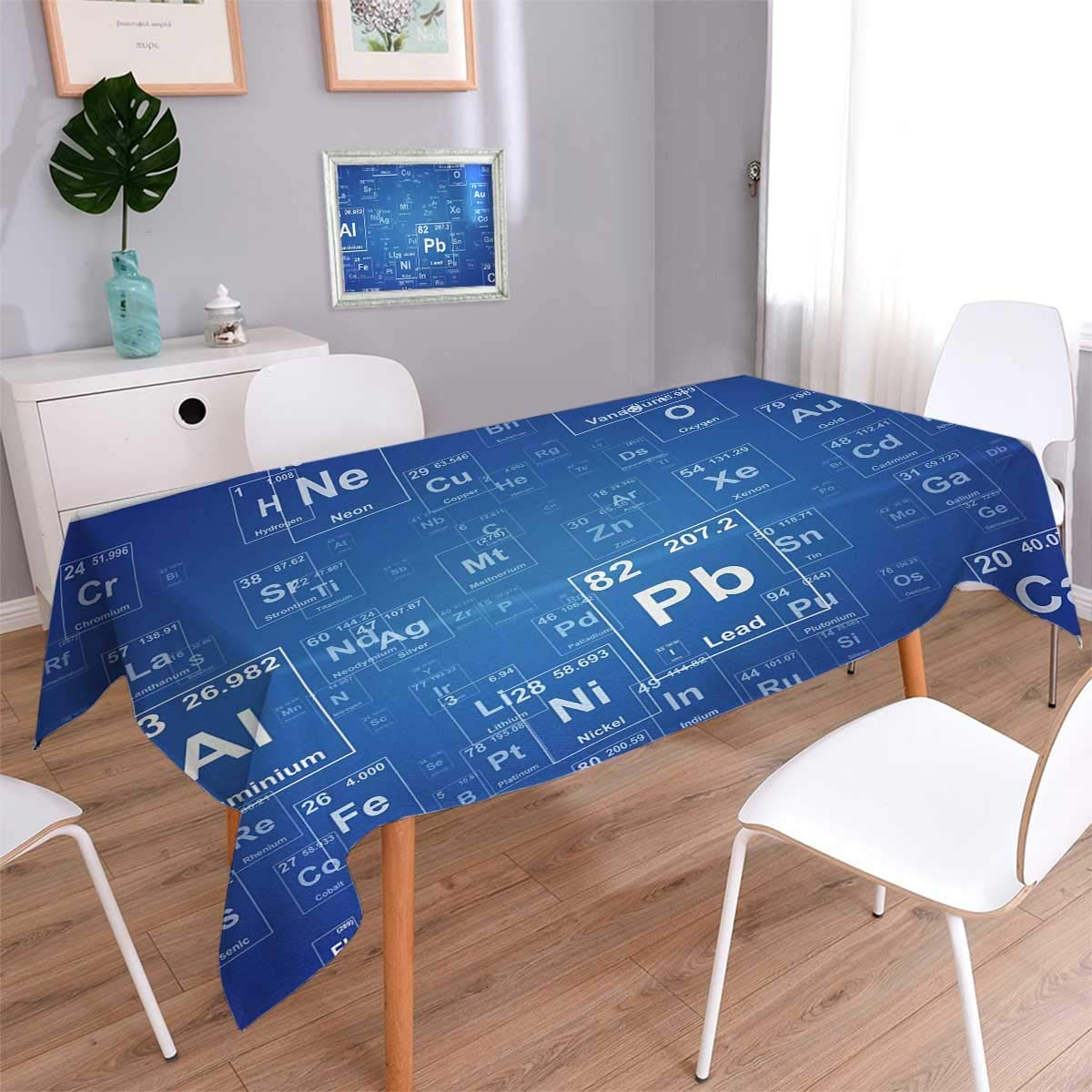 Science Rectangular Tablecloth Chemistry Tv Show Inspired Image With Periodic Element Table Image Print Art Table Cover
