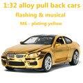 1:32 aleación tire volver cars, alta simulación modelo m6, metal funde, tire hacia atrás de moviles y musical, placas de color, envío libre