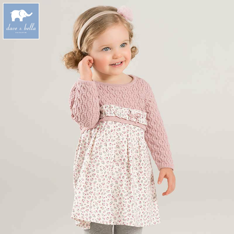DB8822 dave bella autumn baby Princess Knitted Dresses girls floral long sleeve dress children boutique clothing midea vss01b160p пылесос