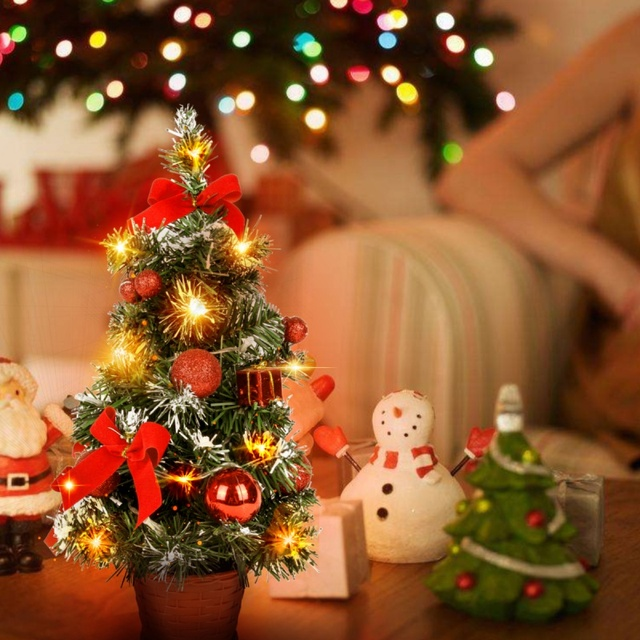 Us 7 19 26 Off 40cm Tall Battery Powered Luxury Tabletop Christmas Tree Hanging Decorations Pine Tree Battery Not Included In Trees From Home