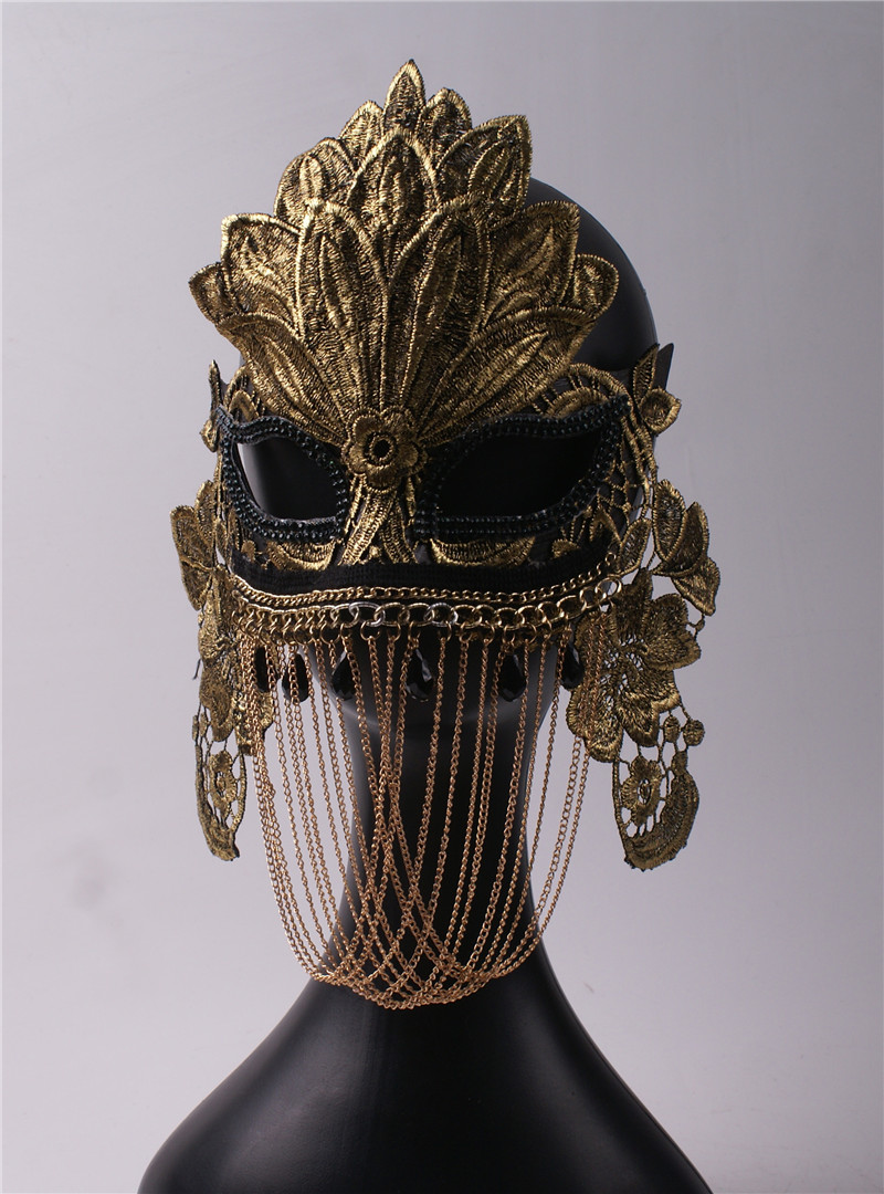 Golden Chain Covering Half Face Mask Men and Women Lace Party Masquerade Adult Halloween Venice Mask in Party Masks from Home Garden