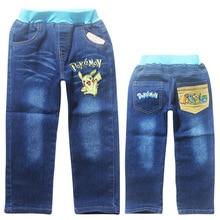 2017 Pokemon Boys Pants Jeans Trolls Jeans For Girls Jeans Spring Fall Children's Denim Trousers Kids Dark Blue Designed Pants