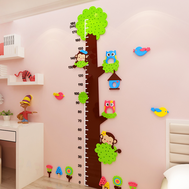 Big tree child height sticker 3d self adhesive height wall sticker Baby height ruler cartoon style Acrylic sticker decorations in Wall Stickers from Home Garden