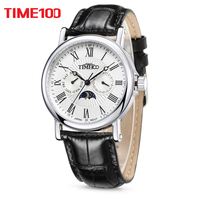 New Arrival Fashion Time100 Men S Roman Numerals Sun Phase White Dial Watch W80035G 01A