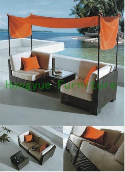 Exterior ratán sofá de jardín conjunto, muebles de jardín