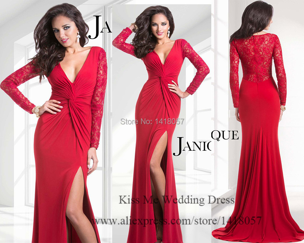 Beige Elegant V Neck Bridesmaid Dress: Elegant Long Sleeve Evening Dresses 2015 Red Lace Mermaid