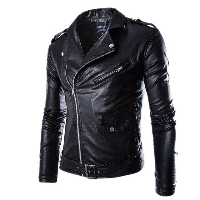 Blouson à carreaux Homme Moto Faux En Pu Cuir Noir Zipper