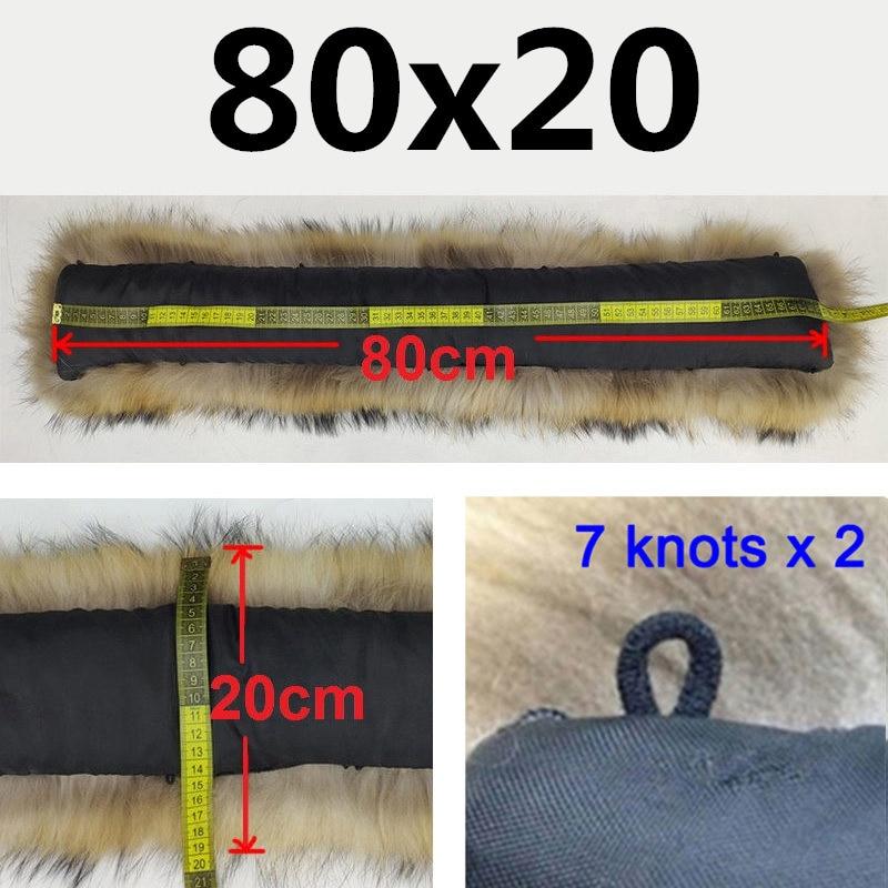 Натуральный меховой воротник, Зимний натуральный мех енота, женские шарфы, пальто, шарфы, роскошная Мужская парка, женская теплая 60 см, 70 см, 80 см,#2 - Цвет: 8020