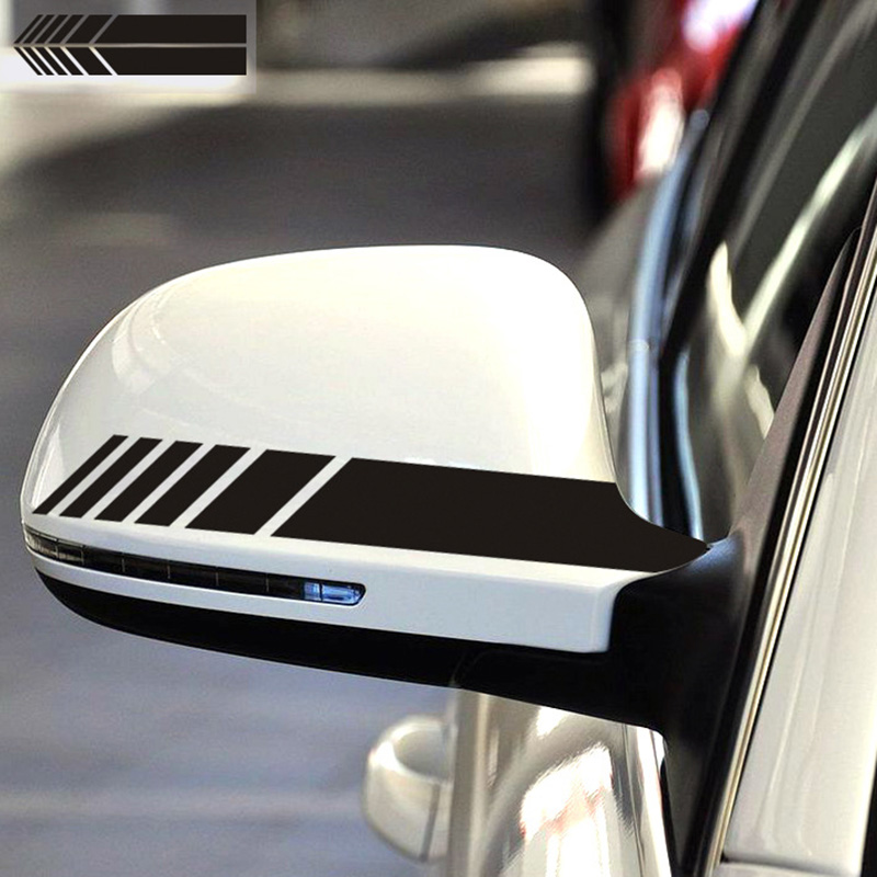 2Pcs Universal Car Rearview Mirror Sticker Racing Reflective Decal Emblem Decor