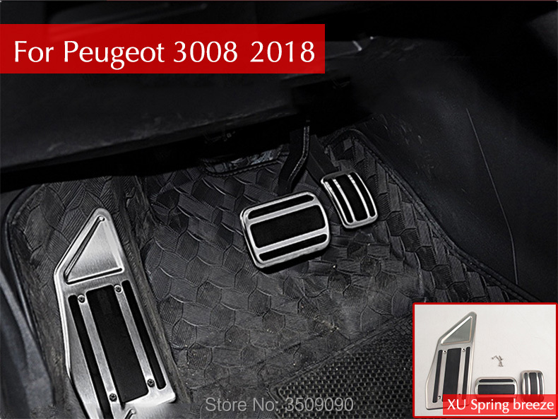 Car Styling Gas Brake Pedal Cover Drill Steel Non-Slip Accelerator Overlay Accessories For Peugeot 3008 5008 2017 2018 LHD chrome car styling side mirrors glossy pairs cover accessories for peugeot 3008 5008 2017 2018 rearview rear view overlay