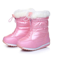 Solid Color Winter Snow Boots PU Leather Waterproof Children Boots