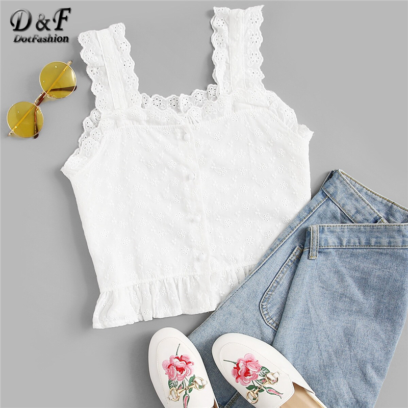 Dotfashion White Solid Embroidered Ruffle Hem Button Front Crop   Tank     Top   2019 Summer   Tops   For Women Clothing Female Straps Vest