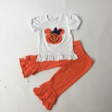 Puresun Halloween Baby Clothes Boutique Outfits Pumpkin Applique Pattern Top Solid Pants Girls Cotton Clothing sets цены онлайн