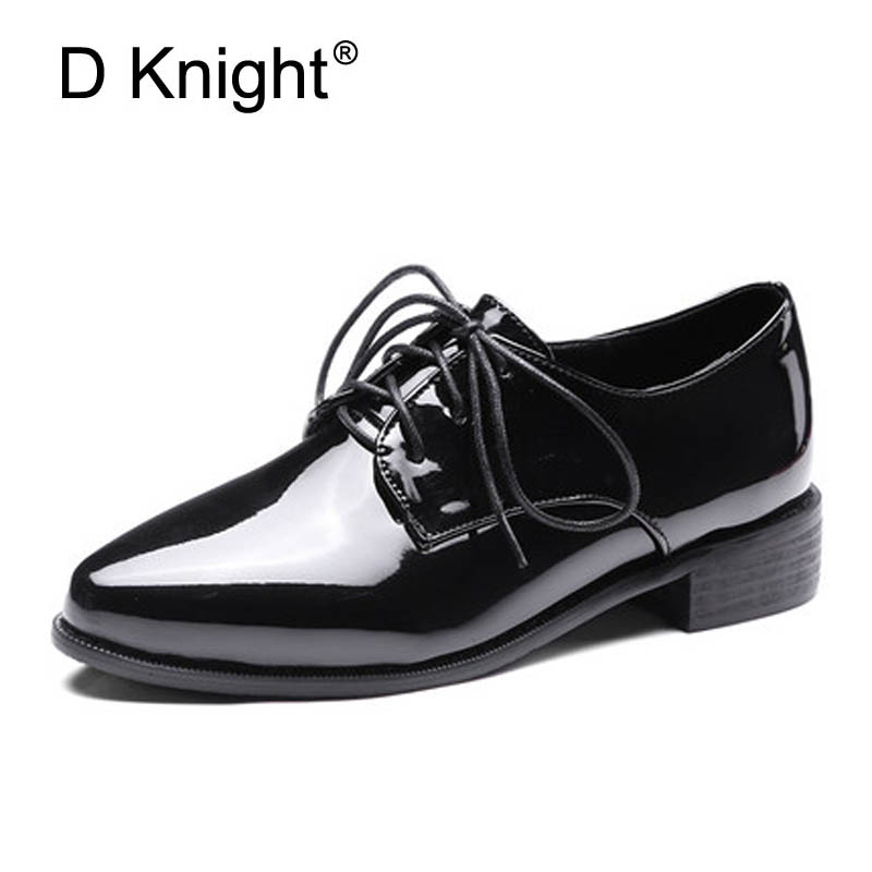 Fashion Shining Patent Pointed Toe Women Flat Shoes Vintage England Style Ladies Casual Flats Size 34-43 Oxford Shoes For Women women flat sandals fashion ladies pointed toe flats shoes womens high quality ankle strap shoes leisure shoes size 34 43 pa00290