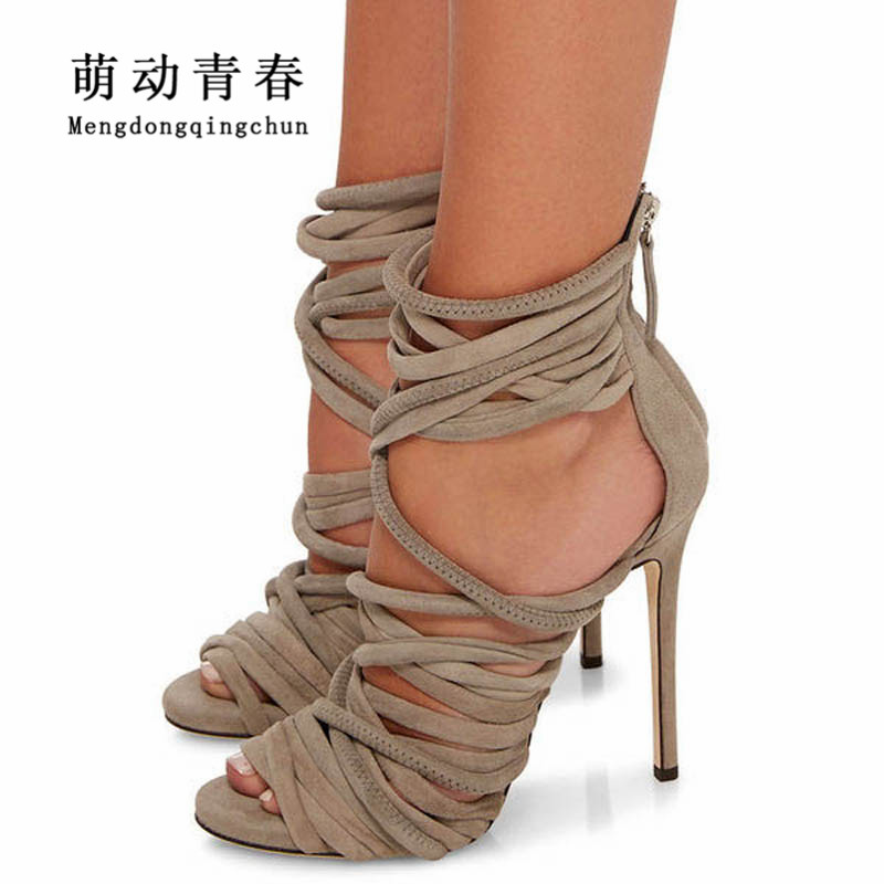 Hot Women High Heels Shoes 2018 Gladiator Flock Peep Toe Thin Heels Shoes Women Fashion Cross Tied Sexy Party Pumps Plus Size lasyarrow brand shoes women pumps 16cm high heels peep toe platform shoes large size 30 48 ladies gladiator party shoes rm317
