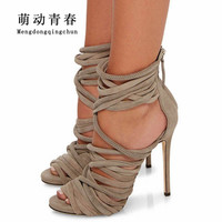 Hot Women High Heels Shoes 2018 Gladiator Flock Peep Toe Thin Heels Shoes Women Fashion Cross Tied Sexy Party Pumps Plus Size