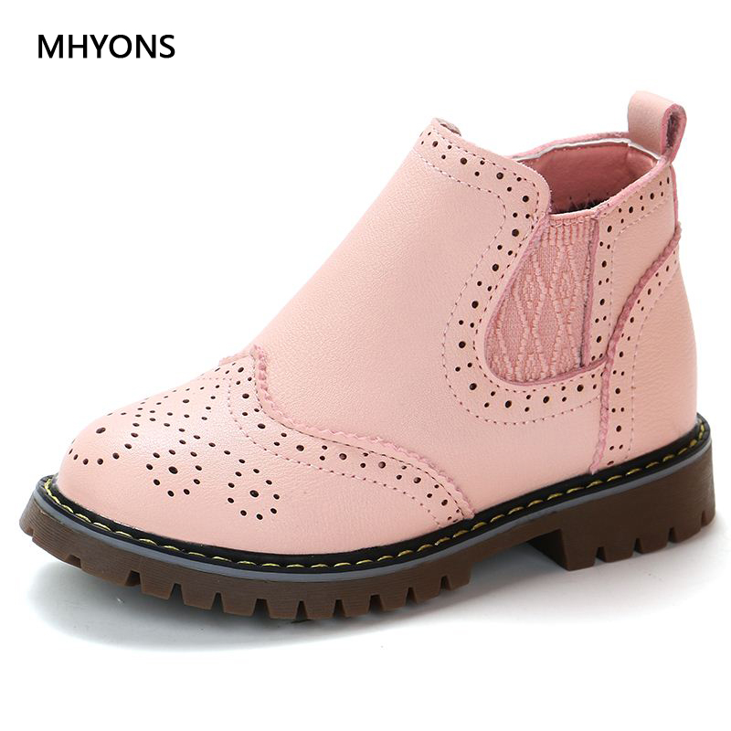 Spring Autumn 2019 Kids Shoes Girls Pink Short Boots Children Martin Boots Handmade Leather Boots Toddler Shoes Kids Sneakers
