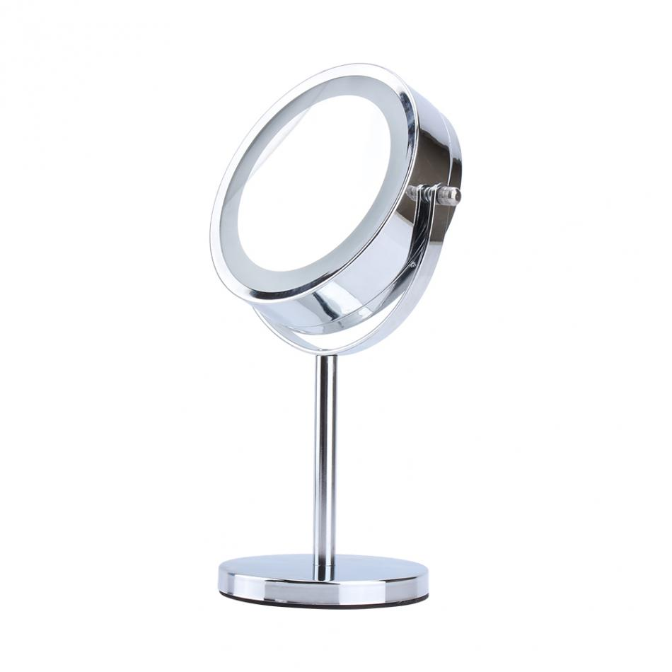 Overseas shipping Cosmetics Mirror 6 inch Round Bathroom Vanity for Shaving / Makeup LED Light Magnifying Makeup Mirror 6 inch 5x magnification cosmetic makeup mirror round shape 2sided rotating magnifier mirror led light makeup mirror for gift
