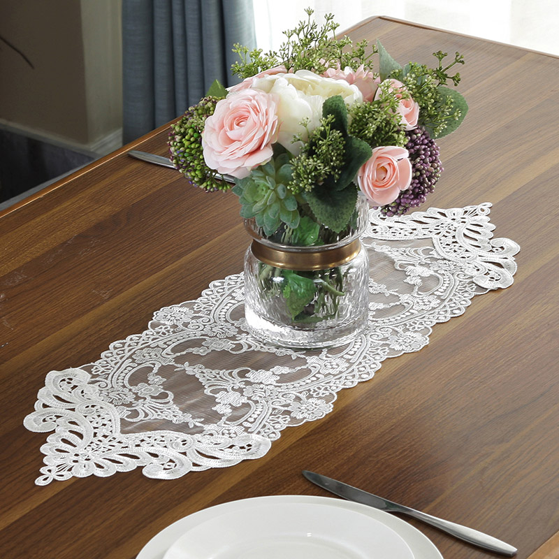 Hot Promo 2d1a Proud Rose White Lace Table Flag Table Mat