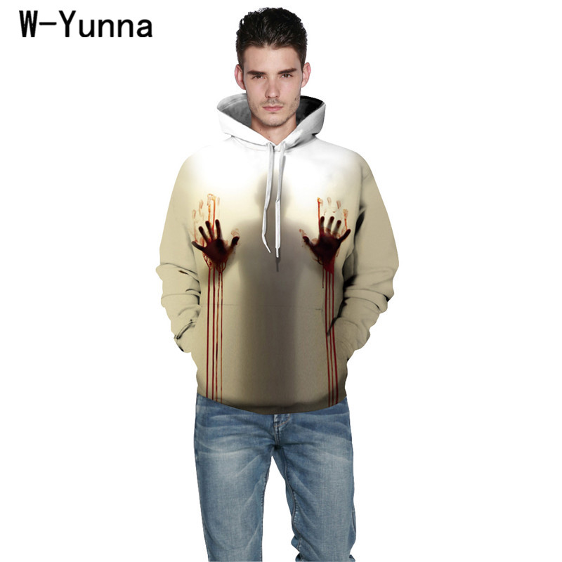 Men's Clothing Buy Cheap W-yunna New Autumn 3d Print Hoodies Mens Blood Handprints Design Loose Fashion Moletom Leisure Streetwear Tracksuits At Any Cost