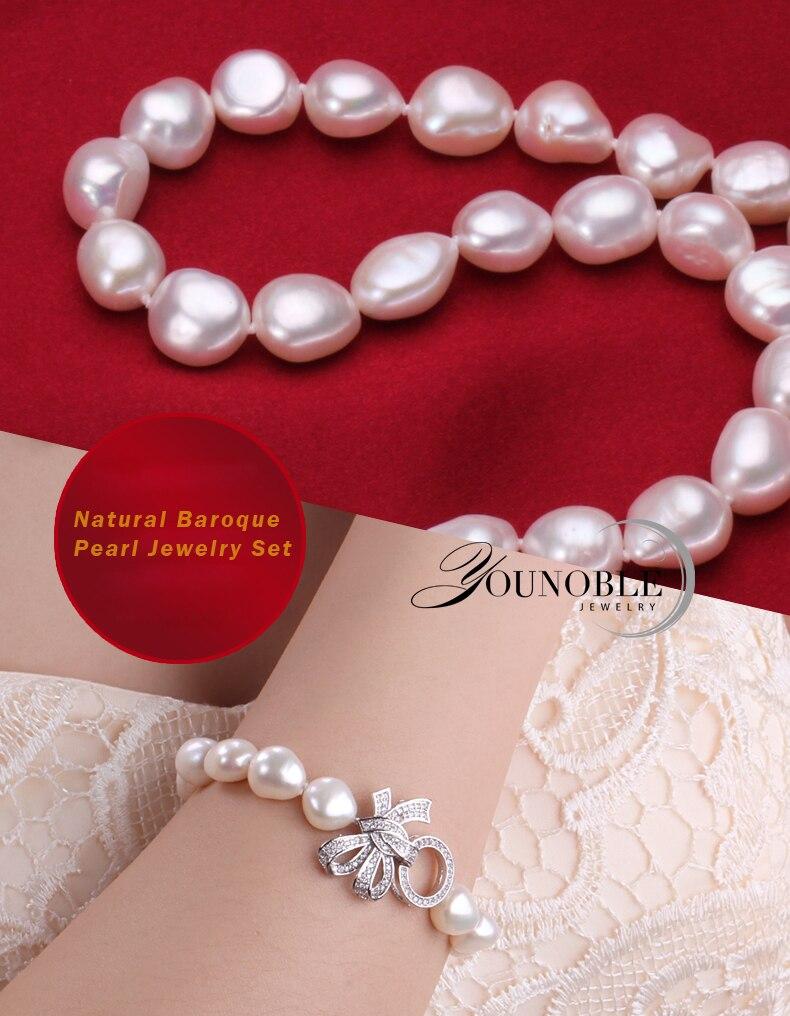 YouNoble Baroque 925 Perak 100% Putih Mutiara Air Tawar Alami Set - Perhiasan bagus - Foto 3