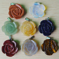 2016 new fashion best selling carved mixed natural stone rose flower pendants charms jewelry 8pcs/lot  wholesale free shipping