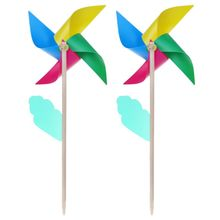 2 Pcs/Set Wind Spinner Simple Four Colors Windmill Pinwheel Wooden Pole Garden Decoration Kids Children Toys Wheel 28cm Outdoor