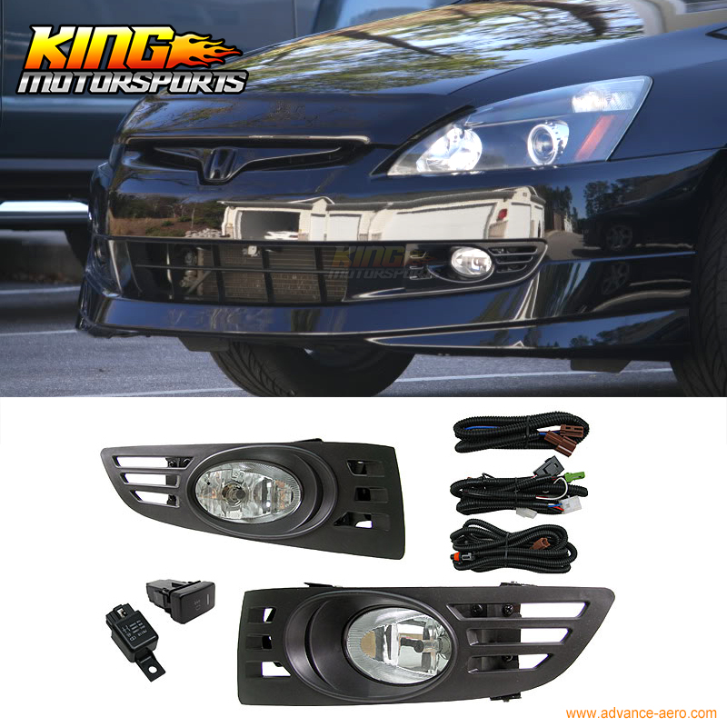 ФОТО Fit For 2003-2005 Honda Accord 2Door Coupe JDM Clear Lens Fog Lights & Switch RH & LH USA Domestic Free Shipping Hot Selling