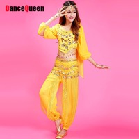 Belly Dance Professional Plum Flower Beaded Top&Genie Balloon Pants&Waist Chain Bollywood Costume Long Sleeve Dancewear Dancing