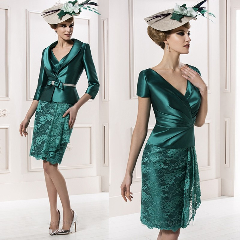 Green 2019 Mother Of The Bride Dresses Sheath Satin Lace With Jacket Short Wedding Party Dress Mother Dress For Wedding