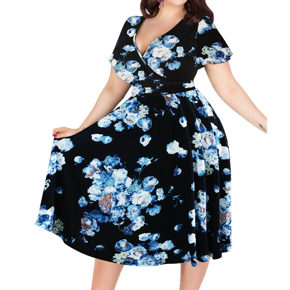 Detail Feedback Questions about Kenancy New Floral Print Vintage Dress Women  V Neck Short Sleeves Summer Dress Pin Up Party Dresses Plus Size Femme  Vestido ... 9bc55842f227