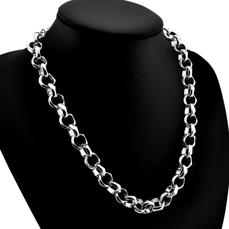 Chain Necklaces Necklaces & Pendants Mens Silver Necklace 925 Sterling Silver Necklace Punk Style Fashion Design 13.5mm51cm Size Solid Silver Necklace Charm Jewelry