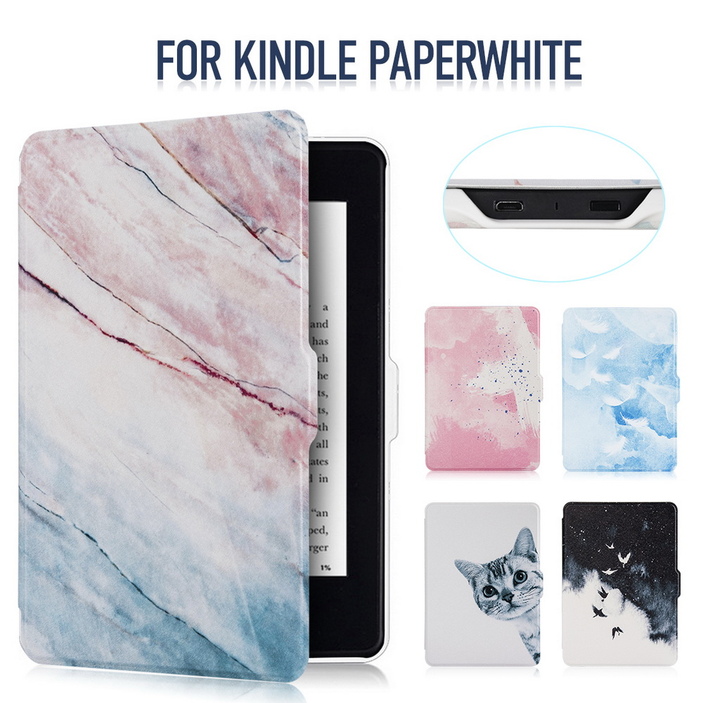 Smart Kindle Paperwhite Case Shell PU Leather Smart Cover Fit For Amazon Kindle Paperwhite1 2 3 ,FREE Shipping kindle paperwhite 1 2 3 case e book cover tpu rear shell pu leather smart case for amazon kindle paperwhite 3 cover 6 stylus