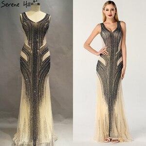 Image 2 - Dubai design cinza luxo com decote em v vestidos de noite sereia lantejoulas beading sexy vestidos de noite sereno hill la60748