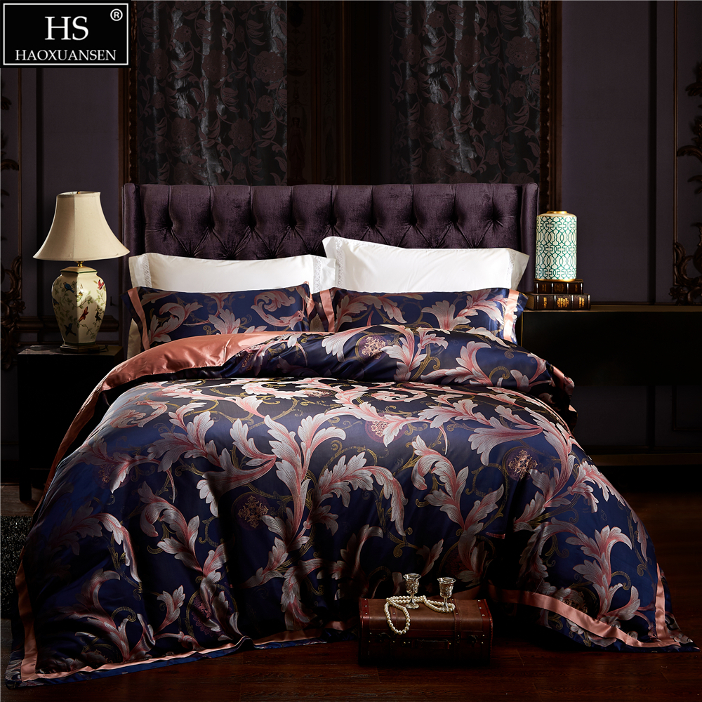 HS 4Pcs Bedding Set European Style Jacquard Satin 28 Momme Mulberry Silk King Size Bedroom Sets Duvet Cover Bed Sheet Pillowcase