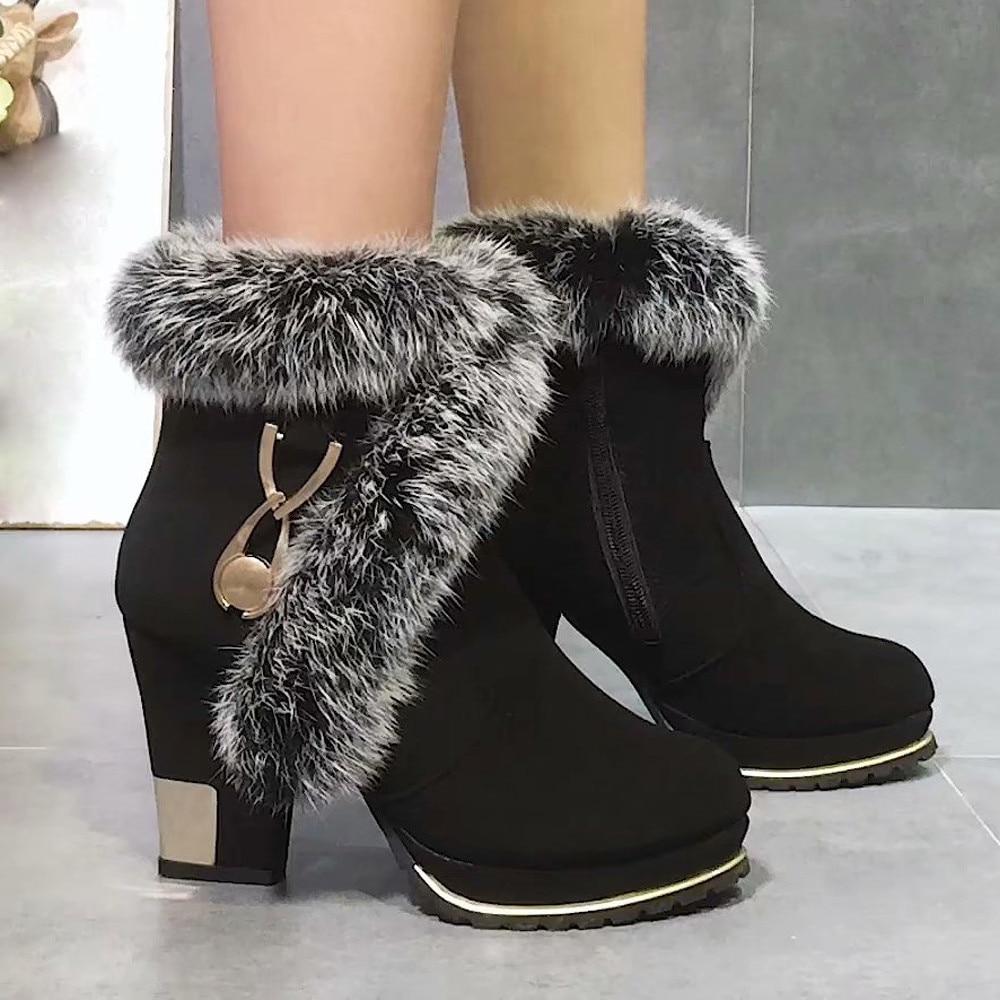 43723347d3b072 En Bottes Pour Belle Peluche Plate forme À Vogue Zapatos Chaussures  Cheville Noir Chaud Mujer De Talons D'hiver Hauts Femmes 5HnOwqB8wf
