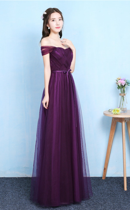 Grape Purple Off The Shoulder Sleeveless Bridesmaid Dress Women Wedding Dress Party  Long Floor Length Back Of Bandage