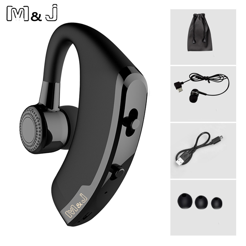 M&J V9 Handsfree Business Wireless Bluetooth Headset With Mic Voice Control Headphone For Drive Connect With 2 Phone