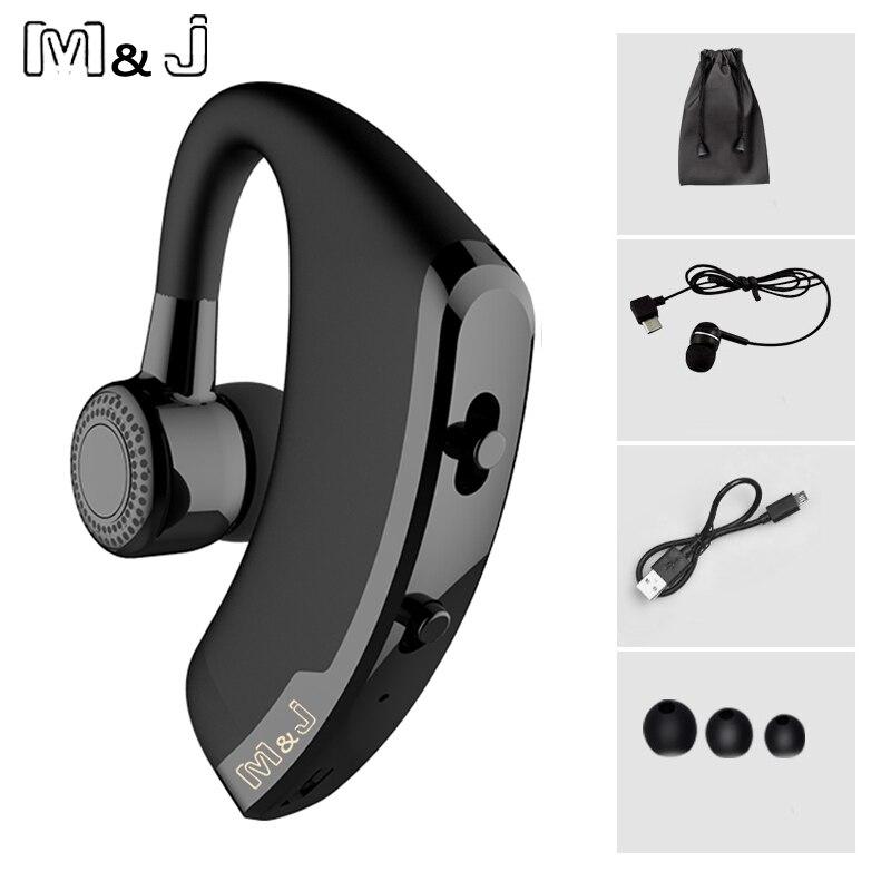 M & J V9 manos libres negocios inalámbricos Bluetooth auriculares con micrófono, Control de voz de auriculares para conducir conectar con 2 teléfono