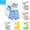 3Pcs Baby Girls Clothing Sets Summer Toddler Baby Boy Rompers Short Sleeve Newborn Baby Clothes Cotton Roupas Infant Jumpsuits