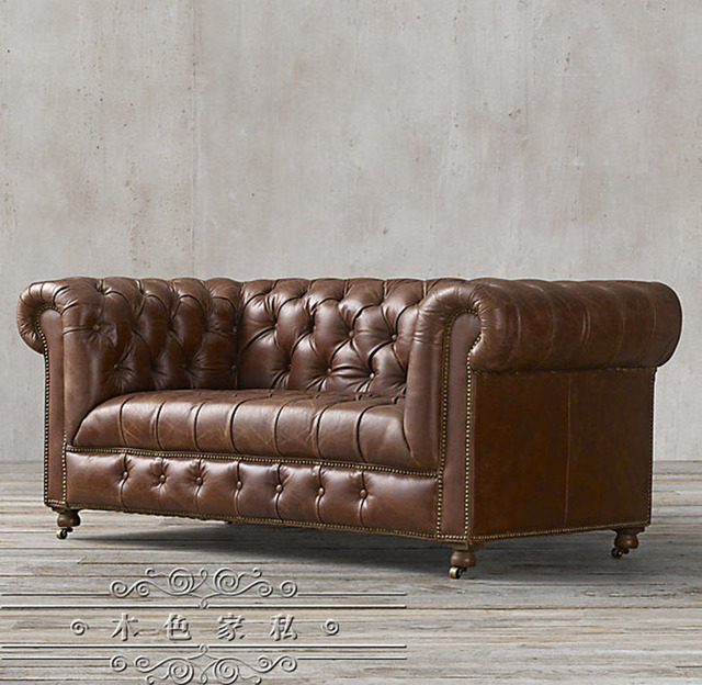 French Country Vintage Hasp American Oil Wax Leather Sofa Ikea Single Nordic Trio