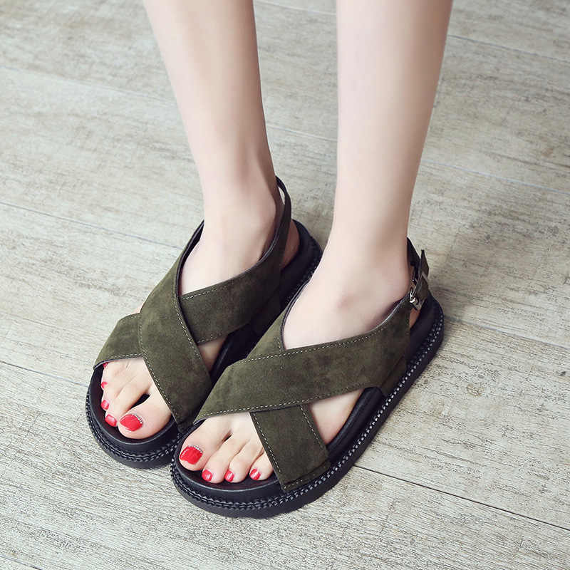 ผู้หญิงรองเท้าแตะ Flock แพลตฟอร์มรองเท้าฤดูร้อนผู้หญิงรองเท้าโรมรองเท้าแตะเปิดนิ้วเท้าสายคล้องคอ Lady Beach Sandalias รองเท้า SH031206