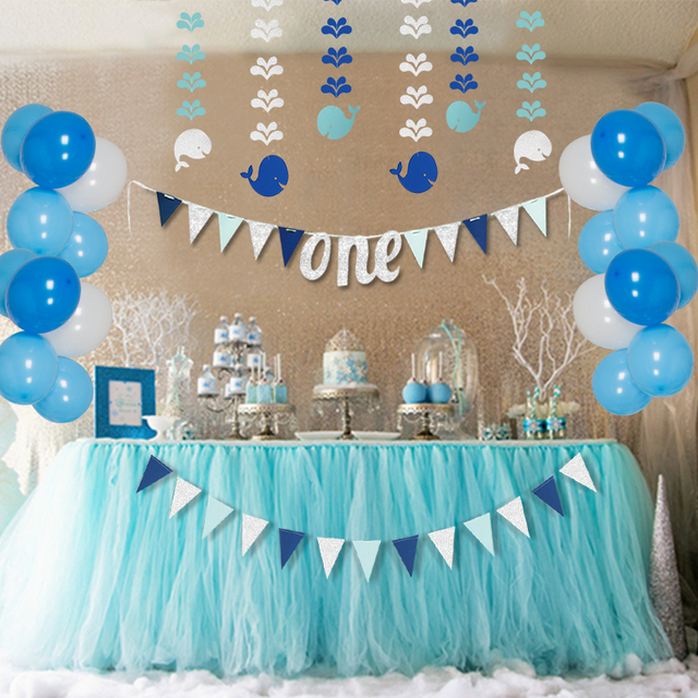 Blue 1st Birthday Girl Party Decorations Sets Kids One Year Paper