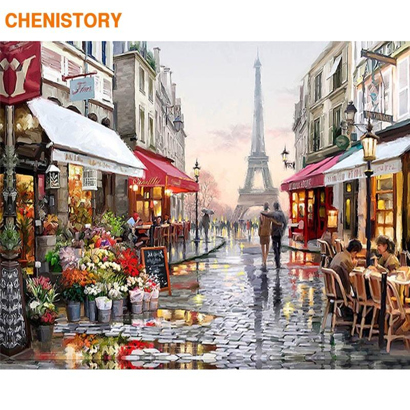 Sans cadre Europe Ville Street DIY Peinture Par Numéros Décoration Peint À La Main Abstraite Peinture À L'huile Pour Salon Illustration