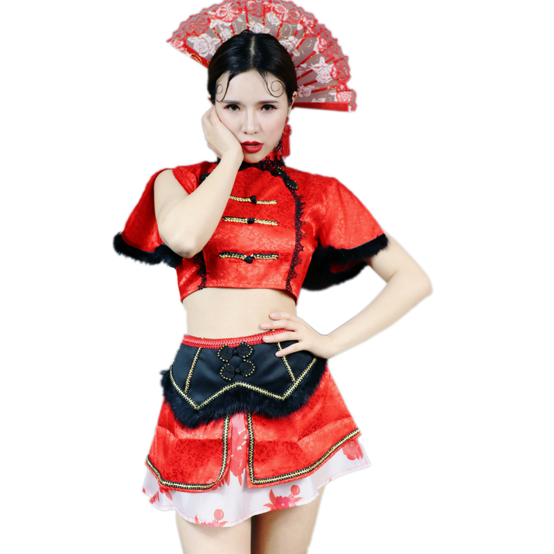 2PCS/SET Red Chinese Dance Costume Sexy Perspective Night Club DS Costume Bar Women Singer Team Jazz Dance wear DJ Stage Outfit