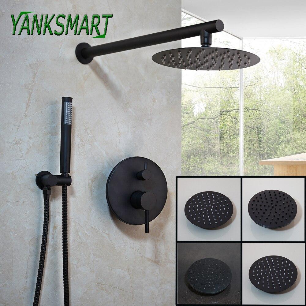 YANKSMART Wall Mounted Bathroom Rainfall Faucet Black 8 10 12 Inch Round Shower Head And Hand