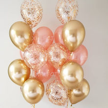 12pcs/lot 12inch Gold Chrome Metallic Confetti Latex balloons Wedding Rose Gold Latex Birthday Party Decoration Kids Helium Ball