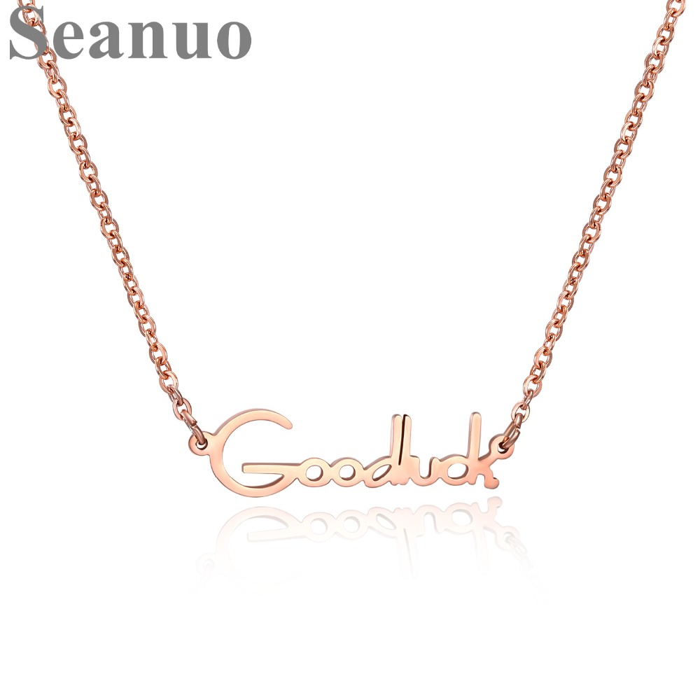 Seanuo Rose Gold Color GOOD LUCK Letters Women Cocktail Party Necklace Fashion Stainless Steel Long Sweater Choker Necklace Girl