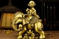 11''brass home fengshui auspicious animal treasure wealth Elephant monkey statue