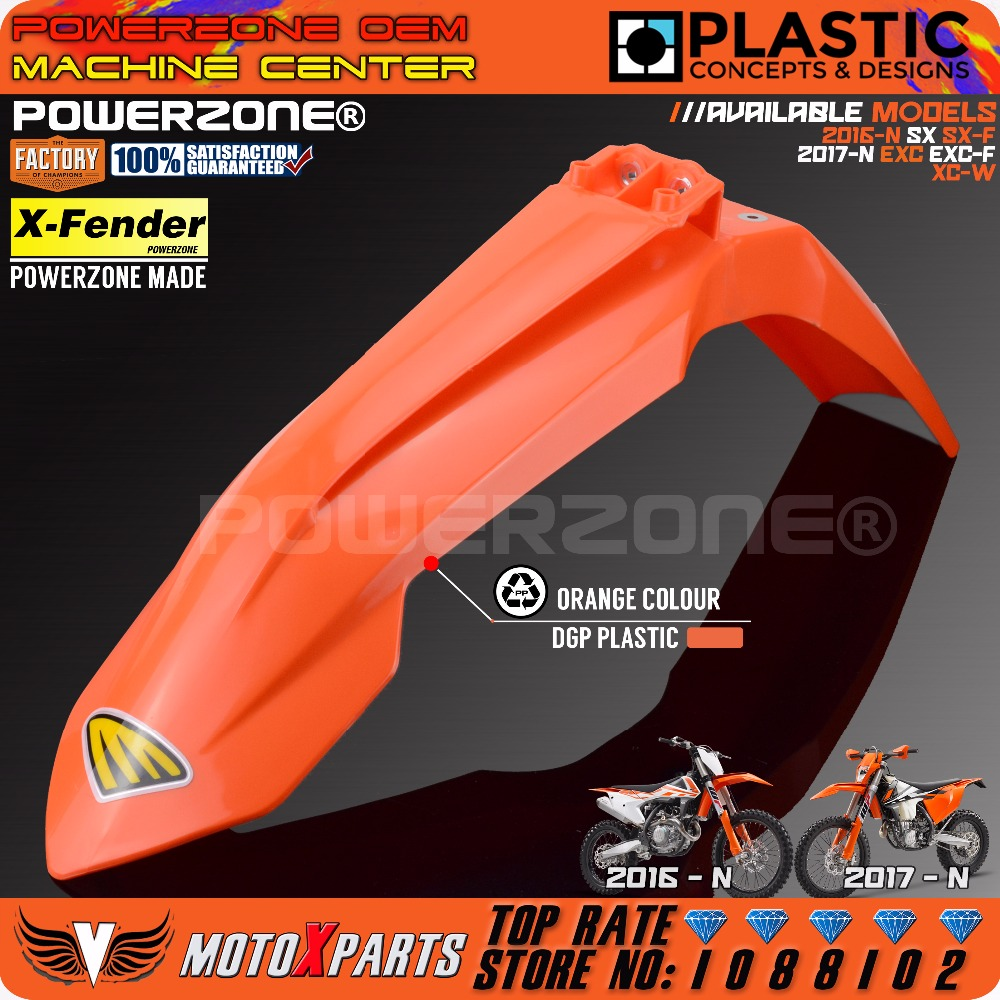 Powerzone MX Orange Plastic Front Fender For KTM 2016 2017 2018 SX SXF EXC  EXCF XCW SIX DAYS 125-530 Dirt Bike Motocross Enduro